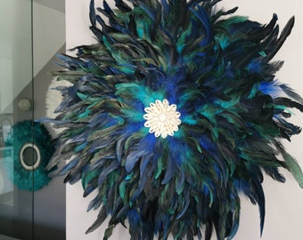 Giant jujuhat juju hat handmade 65 cm in diameter blue, green and black peacock with center shells
