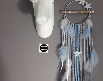 DreamCatcher necklace in shades of grey, white and blue sky with stars - dreamcatcher