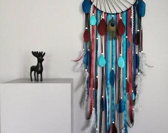 Dreamcatcher Dream Catcher with sun weaving colors navy blue, duck blue, burgundy and gray