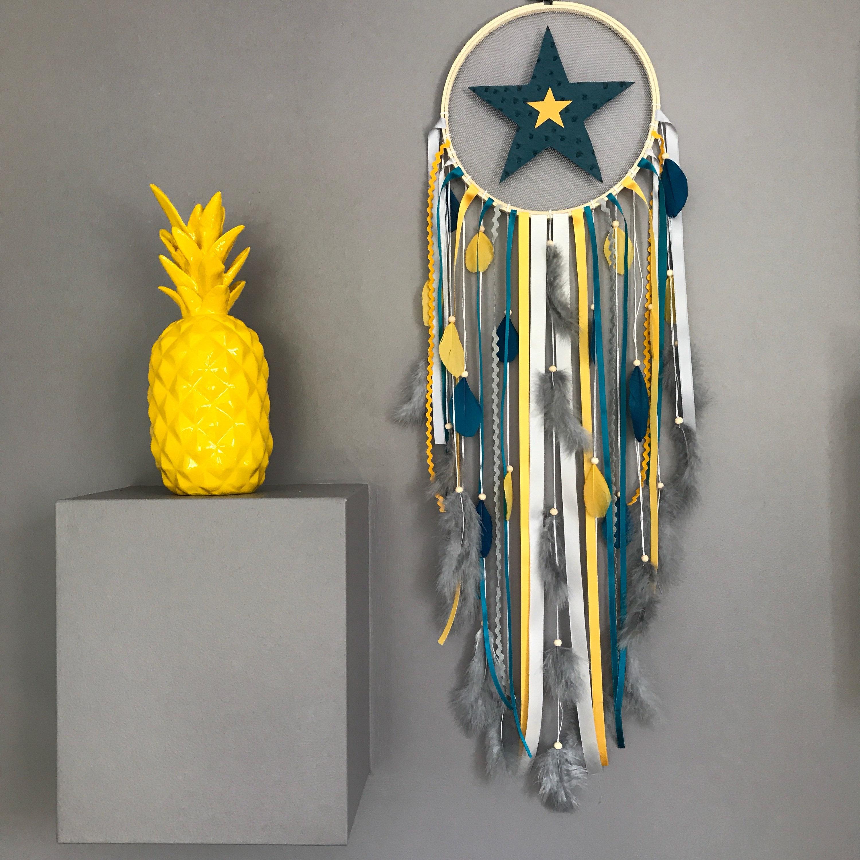 dream catcher toile en jaune moutarde bleu canard et gris etsy. Black Bedroom Furniture Sets. Home Design Ideas