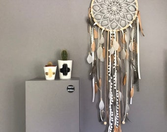 Big dreamcatcher dreams catch of dreams in lace, feathers and wood beads
