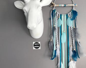 Dream catcher in driftwood, grey, mint and duck blue