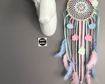 Dream catcher with lace in shades of pink clouds, sky blue and mint - dreamcatcher / dream trap