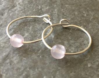 Pale Pink Rose Quartz Gemstone /& Sterling Silver Hoop Earrings with Gift Box