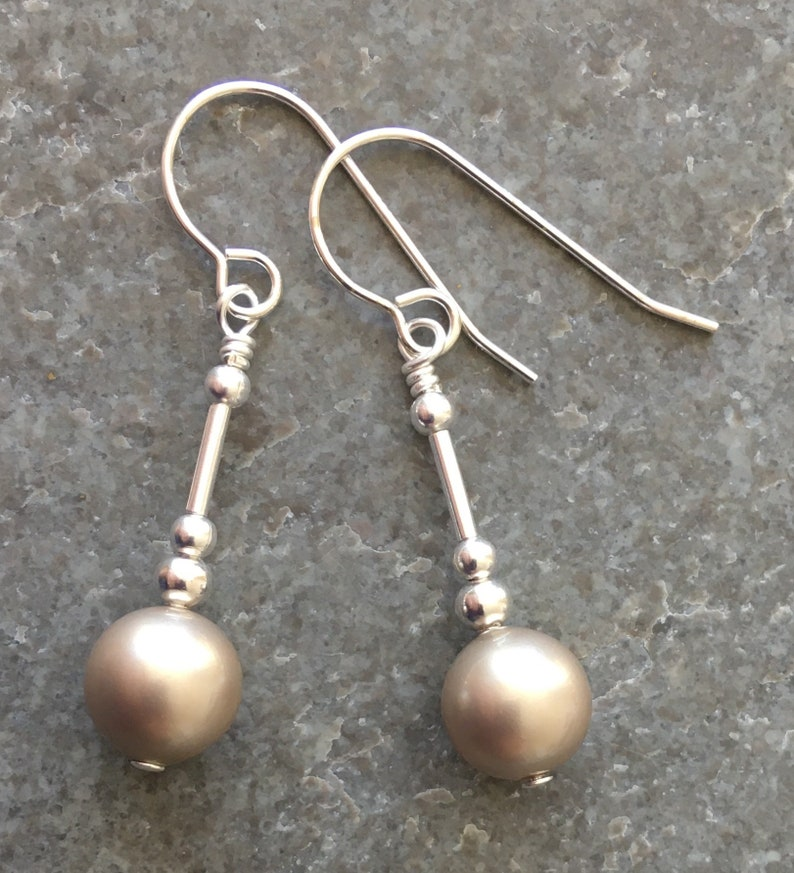 Platinum Grey Crystal Pearl Sterling Silver Drop Earrings with Gift Box