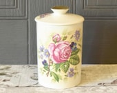 vintage lidded ceramic pot, pretty floral pink rose design storage jar