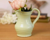 vintage glazed stoneware milk jugs or pitchers, pale green, Denby, two sizes available.