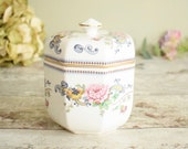vintage china lidded pot, octagonal shape and pretty oriental floral design
