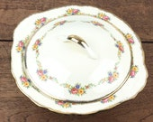 "Vintage lidded tureen serving dish in cream with pretty sprig floral and gilt edge ""Cream petal"" design by Grindley, England"