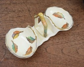 1940's ceramic serving or trinket dish with carry handle,  autumn leaves design, Grindley twin jam or condiment serving dish,