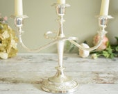 Silver plated triple candelabra, vintage freestanding table decor