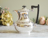 vintage silver plated coffee pot, classical Empire style design with Bakelite handle