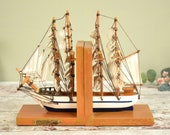 Pair of sailing ship 'Constitution' model wooden bookends,
