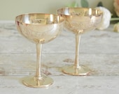Pair of vintage engraved silver plated coupe goblets or chalice, in very good condition