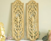 Pair of vintage decorative metalwork door finger plates, door plates
