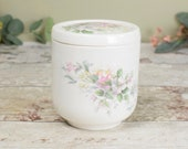 vintage bone china lidded pot, pretty pink and green floral design