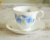 Vintage bone china tea cup and saucer, blue cornflower design Queen Anne china Made in England
