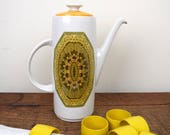 Retro 1970's coffee pot, vintage Royal Doulton 'Parquet' design coffeepot