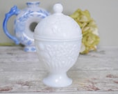 milk glass egg shaped lidded pot