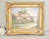 Vintage original painting of a quaint English country cottage, in an ornate vintage gilt frame