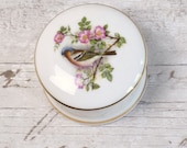 Small pill box or trinket pot with lid, English bone china with little bird and blossom design