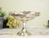 vintage silver plated pedestal dish, with pretty filigree cutout edge,