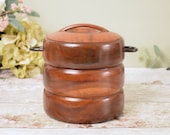 Vintage dark wood ice bucket or biscuit barrel, with removable aluminium insert