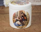 Illustrated vintage jam jar or pot with lid, glazed ceramic with Frank Coopers with traditional 18thC illustration