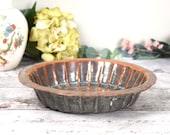 Lovely battered shabby antique copper pie tin or baking pan, heavy Georgian baking pan, copper plated lead alloy.