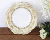 Vintage white cream and gold Noritake bowl or dish, with pretty petal shaped rim