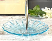 Aqua blue pressed glass sweet serving dish, 1940's with carrying handle