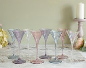Eight vintage martini cocktail glasses, four gorgeous pastel colours, two of each.