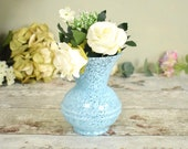 pretty mottled pale blue glass vintage small vase