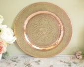 Vintage decorative embossed copper platter or tray