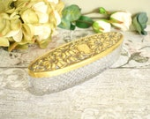 vintage faceted glass dressing table trinket dish or pot,  with pretty embossed gold tone metal lid.