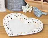 Heart shaped trinket dish or plate, enamel painted metal with openwork filigree edge