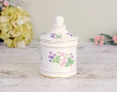 vintage bone china lidded pot, pretty bramble floral design