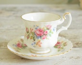 Royal Albert coffee cup and saucer, Moss Rose traditional pink rose design, vintage English bone china
