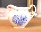 Vintage jug or pitcher, French style 'Toile de Jouey' pattern, English ironstone from Royal Worcester