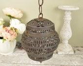 Vintage rustic metal lant...