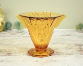 1940's vintage amber glass vase flared conical shape