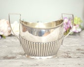 Large vintage silver plated sugar bowl, regency empire style, with handles