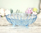 Pretty vintage blue pressed glass dish or bowl, 1940's