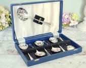 Set of 6 vintage chrome dessert spoons with additional serving spoon in original plush and satin lined box.