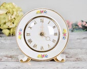 vintage reproduction ceramic country rose mantle clock, vintage clock by Smiths.