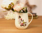 Small vintage,  ceramic jug, creamer or pitcher with traditional pretty berries motif on a cream ground