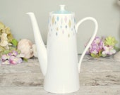 Retro 1980's coffee pot, pastel diamond pattern, vintage English bone china 'Sylvian' design coffeepot