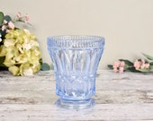 vintage glass vase, pretty cornflower blue pressed glass