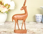 Retro teak antelope ornament from the 1960's