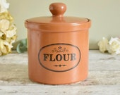 terracotta glazed rustic stoneware flour jar or pot, country style kitchen flour storage jar